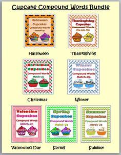 Cupcake Compound Word Match-Up BUNDLE (Halloween, Thanksgiving, Christmas, Winter, Valentine's Day, Spring, Summer)