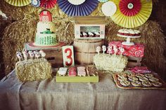 Kids Birthday Party Themes: Down On The Farm Birthday Party, if only we would be in a farm by next spring :s Farm Themed Party, Barnyard Party, Themed Parties, Farm Birthday, 3rd Birthday Parties, Birthday Ideas, Tractor Birthday, Birthday Table, Animal Birthday