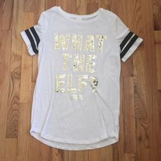 """Victoria's Secret PINK What The Elf Top M VS PINK """"What the Elf"""" top. Size medium, runs a little bit bigger. Worn once or twice only. Selling because the sequins make me itchy. Price is firm. PINK Victoria's Secret Tops Tees - Short Sleeve"""