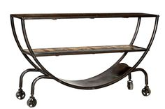 Grand Industrial Console Table with Reclaimed Teak Wood