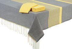 Tablecloth & 6 Napkins, Gray/Yellow on OneKingsLane.com