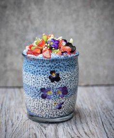Mix some blue matcha powder with agave syrup to get this peaceful and delicious Chia Pudding recipe.