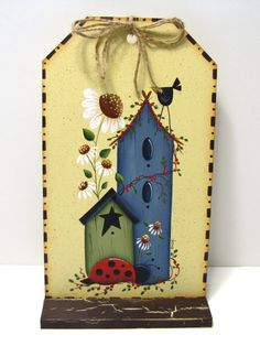 Sheep Watermelon Birdhouse Flag Clothespin Note Photo Memo Holder Handpainted Home Decor Shelf Sitter Pintura Country, Arte Country, Country Crafts, Tole Painting, Painting On Wood, Country Primitive, Arte Pallet, Home Decor Shelves, Decoupage