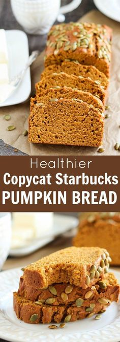 Healthy Pumpkin Bread – Celebrating Sweets Healthier {Copycat} Starbucks Pumpkin Bread – A moist and tender pumpkin loaf that tastes similar to Starbucks Pumpkin Bread but made lighter and healthier. You won't miss the extra fat and calories! Best Pumpkin Bread Recipe, Starbucks Pumpkin Bread, Healthy Pumpkin Bread, Pumpkin Loaf, Pumpkin Dessert, Pumpkin Carving, Vegan Pumpkin Bread, Pumpkin Breakfast, Spiced Pumpkin