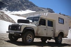 As it is a demountable camper, maybe if it were too tall on the truck, it could be removed and slid somehow into the container. Land Rover Defender, Defender Camper, Defender 130, Landrover Camper, Truck Camper, Saddle Tramp, Zen, T2 T3, Best 4x4