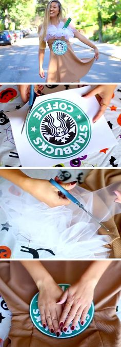 Easy Starbucks Costume & Halloween Costumes for Teens Girls Meme Costume, Cute Costumes, Costume Ideas, Modest Costumes, Easy Disney Costumes, Halloween Mono, Halloween Diy, Easy Male Halloween Costume, Halloween Makeup