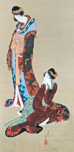 Japanese hanging scroll, Beauty and attendant, Katsushika Hokusai, early 19th c
