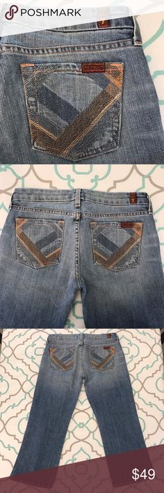 """💙👖Beautiful Unique 7FAM Capri Jean👖💙26 1/2 22"""" 💙👖Beautiful 7 For All Mankind Capri Jeans👖💙 Lovely Stitching Detail on Pockets in pale peach orange and soft baby blue. Size 26 (1/2). BUT 7FAM Run Small SO Listed as a 25 (1/2)!!! 22"""" Across Back. 7.25"""" Rise. 14.75"""" Across Back. Good Stretch. Light Wash. Light Fading. A Pocket Fit. Capri. Cropped. Crops. Cuffed. Cute. Cute. Cute. 7 FAM! Anthropologie. Ask me any questions! : ) 7 For All Mankind Jeans Ankle & Cropped"""