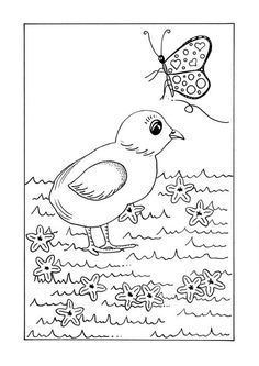 Here is a darling coloring page to get the kids excited about the spring season! #FaveCrafter #coloring #kidscoloring