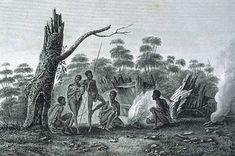 French depiction of Aboriginal life, 1807 (Tasmaniana Library, SLT)