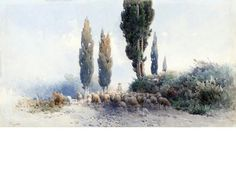 Angelos Giallina A shepherd with his herd, Corfu 48 x 90 cm. x 35 in. Corfu, 2 In, Greece, Auction, Fine Art, Artist, Pictures, Painting, Outdoor