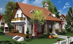 Casa in stil rustic cu terasa in aer liber Tree Bedroom, Circular Patio, Three Bedroom House Plan, Attic House, Four Rooms, Open Space Living, Story House, Two Story Homes, Rustic Modern