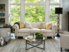 Dorchester Abbey Chesterfield Sofa is a stunning example of how you can make a traditional piece a staple in your home. Pair with fun contrast pillows for an accent color in your living room.