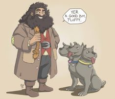 Hagrid with a puppy - Fluffy