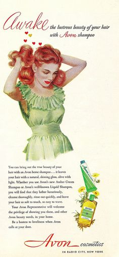 Awake the lustrous beauty of your hair with Avon shampoo. Vintage redhead pin-up advertisement