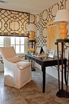 Upholstered walls & roman shades in brown-and-cream fretwork fabric by Atlanta designer Robert Brown