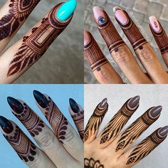 Which is your favorite? (& which would you like a tutorial on?)   Top left Top right  Bottom left  Bottom right  I… Best Arabic Mehndi Designs, Latest Henna Designs, Mehndi Designs Book, Finger Henna Designs, Legs Mehndi Design, Mehndi Designs For Girls, Mehndi Designs 2018, Stylish Mehndi Designs, Mehndi Design Photos
