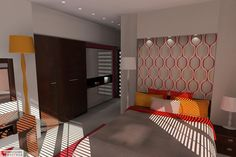 [PL] Aranżacja sypialni wystrój nowoczesny w kolorach beżowy, brązowy, czerwony, pomarańczowy - projekt wnętrza o id 6637058 w Homplex.pl, Zestaw wyposażenia za 21320 zł[EN] Bedroom arrangement, modern style, beige, brown, red, orange color - interior design id 6637058 in Homplex.pl, products set for $6663