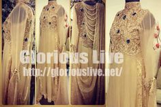 Fawn long dress of chiffon having kaliyan and immaculate work made of lovely fabrics..Embellishment work made with: Sequins, beads, dabka with new trend work on gala with diamantes hand work...The various  round coils are used in this embroidery...
