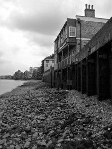 looking towards Rotherhithe from The Angel pub - mudlarking