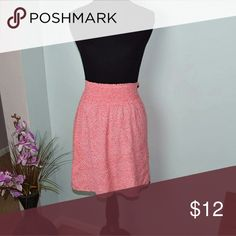 Gorgeous Bright Coral Colored Floral Print Skirt In excellent condition. The front looks the same as the back. Skirts Midi