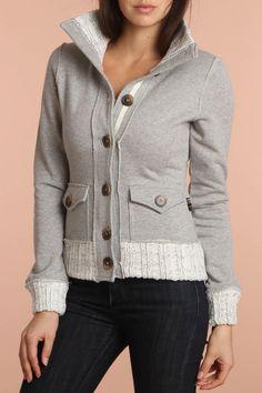 Fleece Cardigan In Heather Gray