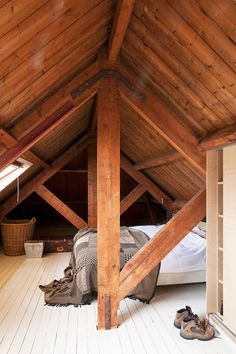 This attic space with white-washed floorboards makes a surprisingly inviting bedroom space.