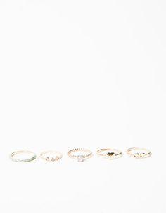 Bershka España - Set 5 anillos colores y piedras