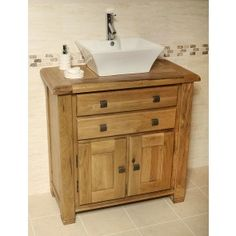 Rustic Oak Bathroom Vanity Unit