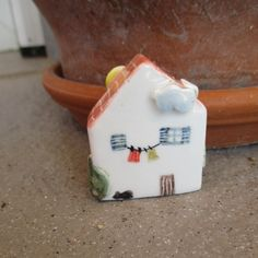 Little Ceramic House,Little Clay House,Cute Small House,White House,Tiny House,Miniature House,Terrarium House,Small details,laundry on rope by TatjanaCeramics on Etsy