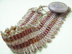 Beadwork Bracelet  Lavendar & Plum Stripe Peyote by BohemianIce