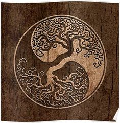 Tree of Life Yin Yang with Wood Grain Effect Classic Round Sticker This unique yin yang features a twisted tree growing from the center of the design The intricate branc. Body Art Tattoos, Sleeve Tattoos, Tree Of Life Tattoos, Celtic Tree Tattoos, Tatoos, Spine Tattoos, Shoulder Tattoos, Yin Yang Tattoos, Maori Tattoos