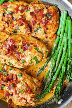 Bacon Chicken with Sun-Dried Tomato Cream Sauce. You know the drill: Substitute in coconut milk and homemade mozzarella. Turkey bacon? Great option.