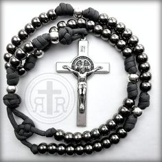 This beautiful handmade rosary has all metal alloy beads on paracord making it extremely rugged.💪🏽The Ashes to Ashes Rosary ✝️ designed by Kristina in Customer Service. Rosary Bead Tattoo, Rosary Beads, Diy Bracelets Easy, Bracelets For Men, Stackable Bracelets, Paracord Rosary, Rosary Catholic, Catholic Gifts, Beads For Sale