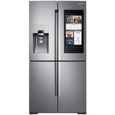 Samsung Flex With Family Hub 22-Cu Ft 4-Door Counter-Depth French Door Refrigerator Single Ice Maker (Stainless Steel) E