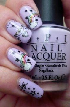 #Rainbow #Nails #Clouds #Purple #Polish