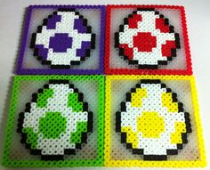 Mario Bros Yoshi Egg Coaster Set of 4 Perler Beads by angelferret