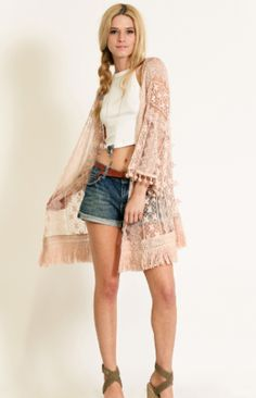 Lace Kimono with Fringe in Dusty Pink - Dusty Diamonds Boutique