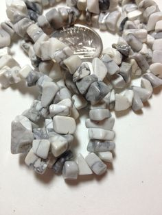 """Natural Howlite Chip Beads - 32"""" Strand. Starting at $6 on Tophatter.com!"""