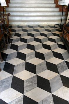 Gorgeous marble floor in 3d cube pattern. #DesignPinThurs #TileSensations