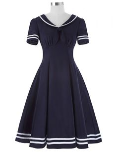Looking for Belle Poque Women's Retro Sailor Dress Short Sleeve Cocktail Party Swing Dress ? Check out our picks for the Belle Poque Women's Retro Sailor Dress Short Sleeve Cocktail Party Swing Dress from the popular stores - all in one. Pin Up Dresses, Nice Dresses, Fashion Dresses, Short Sleeve Dresses, Preppy Dresses, Party Dresses, Short Sleeves, 1950s Swing Dress, Robe Swing