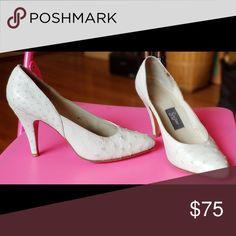 Pale grey Ostrich Leather Pump Size 7.5 Ostrich Designer Pumps Shoes Heels