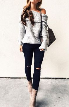 Get inspired with the most popular street chic style ideas from famous fashion bloggers. Here you can find perfect combination of chunky knits and rips, feminine cozy outfits and many other cute ensembles to try ASAP. * More info could be found at the image url. #BeautifulFashion