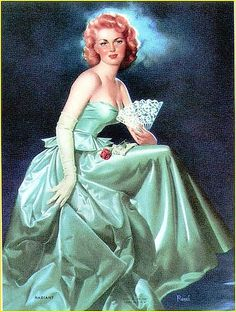 Vintage Pin-up Girl Art Print Edward Runci Beautiful Redhead Classic 1951 GGA Pin Up Vintage, Vintage Art, Vintage Ladies, Vintage Glamour, Vargas Girls, Calendar Girls, Beautiful Redhead, Pin Up Art, Retro