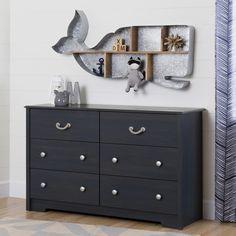 South Shore Aviron 6-Drawer Blueberry Double Dresser
