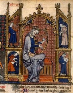 Français 8, fol. 212, David et ses musiciens guiard des moulins, bible historiale paris vers 1320-1330