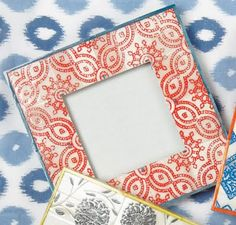 red Ikat photo frame