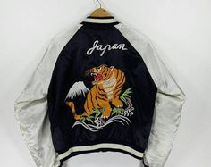 Vintage SUKAJAN TIGER Satin Jacket Japan Yokosuka 1980's Embroidery Japanese Korean War Souvenir Sukajan Bomber Jacket Coat Size M