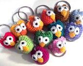 Gufi amigurumi colorati con portachiavi : Portachiavi di creare-handmade