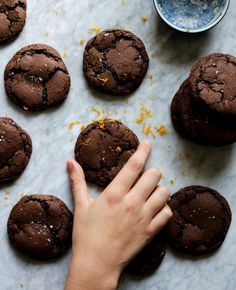 Chocolate Orange Truffle Cookies Recipe - a chocolate cookie with a slight crisp resistance when bitten & a rich, fudgy center, laced & scented with winter citrus. Chocolate Orange Cookies, Chocolate Truffles, Oreo Truffles, Chocolate Brownies, Chocolate Desserts, Cookie Recipes, Dessert Recipes, Bar Recipes, Cookie Pictures